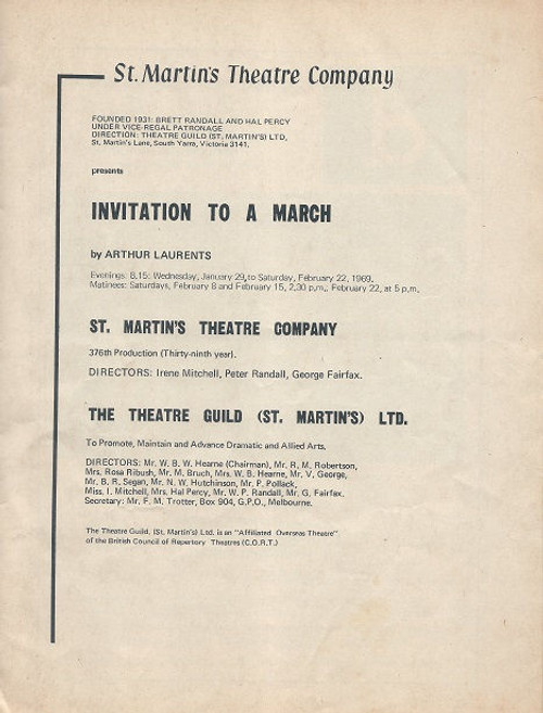 Invitation to a March by Arthur Laurents - 1969 St Martin's Theatre Company Melbourne Cast: Pauline Lowe, Garry Keane, Dorothy Bradley, Lesley Baker, Michael Long, Anne Charleston, Gary Gray, Alan Forsyth Directors: Irene Mitchell, Peter Randall, George Fairfax