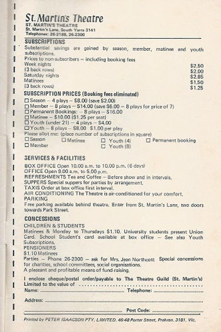 Widower's Houses by George Bernard Shaw St Martin's Theatre Company Melbourne - 1970 Cast: Ernie Bourne, Barry Hill, Sandy Gore, Valma Pratt, Peter Norton, David Foster