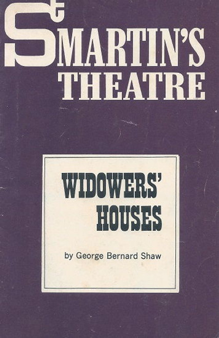 Widower's Houses by George Bernard Shaw St Martin's Theatre Company Melbourne - 1970 Cast: Ernie Bourne, Barry Hill, Sandy Gore, Valma Pratt, Peter Norton, David Foster