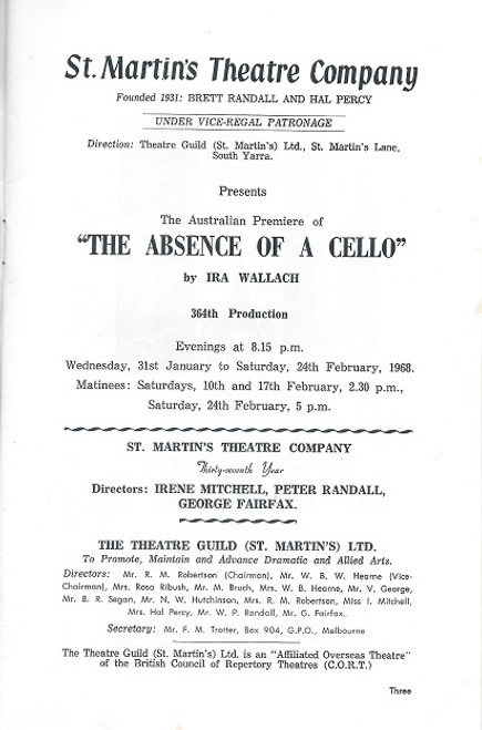 This Souvenir Program is from the 1968 Australian Production Directed by Peter Randall Cast: Kevin Miles, Pat Norman, Kenric Hudson, Nadeleine Orr, Gypsie Burt, Naomi Daniel, Sean Scully
