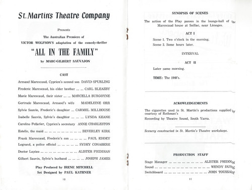 """All in the Family- by Marc-Gilbert Sauvajon - St Martin's Theatre Company Melbourne 1967 """"All in the Family"""", was adapted by Victor Wolfson, was given its first performance at the Strand Theatre, London on 17 June 1959."""