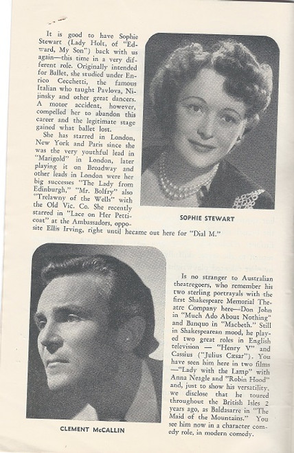 Dear Charles (Play) Alan Melville, Alexander Comedy Theatre Melbourne 1954  Playbill / Program Cast: Julie Brown, Alexander Archdale, Richard Meikle, Michael Plant, Sophie Stewart, Fenella Maguire, Ellis Irving, Clement McCallin, Tony Thawnton, Winifred Hindle, Wendy Blacklock, Brooke Denning