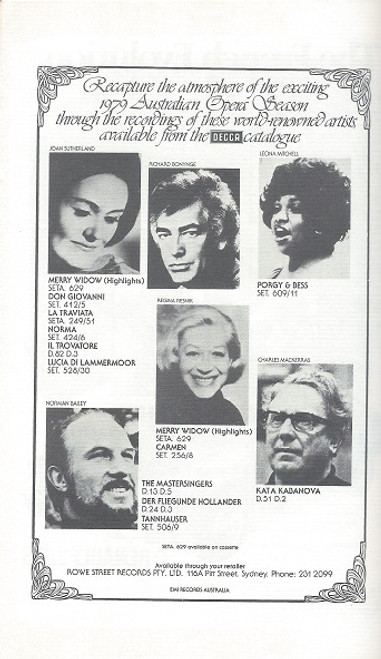 Don Giovanni Australian Opera - Palais Theatre Melbourne 1979 Orchestra and Performers : Richard Bonynge, George Ogilvie, Hugh Colman, Kristian Fredrikson, Clifford Grant, Lyndon Terracini, Joan Sutherland, James Morris, Neil Warren Smith, Margreta Elkins, Henri Wilden, Kathleen Moore