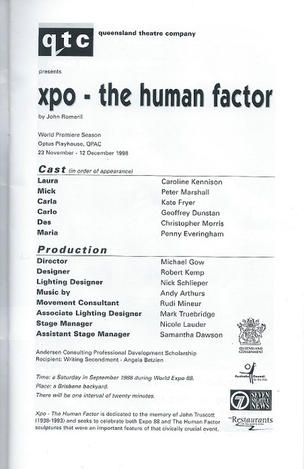 XPO - The Human Factor By John Romeril - Queensland Theatre Company Production Cast: Caroline Kennison, Peter Marshall, Kate Fryer, Geoffrey Dunstan, Christopher Morris,  Penny Everingham