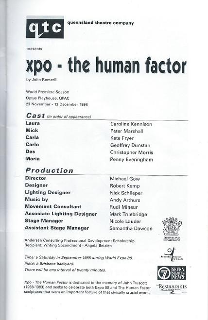 XPO - The Human Factor By John Romeril - Queensland Theatre Company Production Cast: Caroline Kennison, Peter Marshall, Kate Fryer, Geoffrey Dunstan, Christopher Morris,  Penny Everingham
