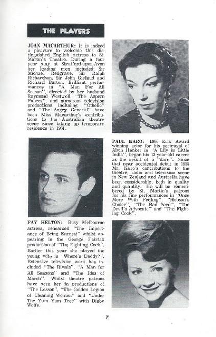 The Importance of Being Earnest Broadway 1967 Oscar Wilde at St Martin's Theatre Melbourne  Cast: Caroline Kennison, Peter Marshall, Kate Fryer, Geoffrey Dunstan, Christopher Morris,  Penny Everingham