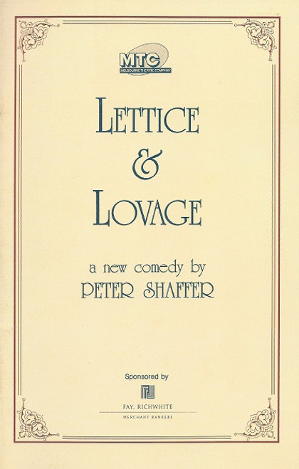 Lettice & Lovage by Peter Shaffer Playhouse Theatre Melbourne 1989 Cast: Ruth Cracknell, June Salter, Peter Collingwood, Betty Lucas - Director Richard Cottrell