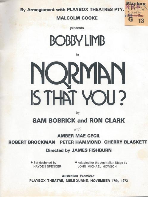 Norman, Is That You? by Sam Bobrick and Ron Clark Playbox Theatre Melbourne 1974 Bobby Limb, Amber Mae Cecil, Peter Hammond, Cherry Blaskett, Robert Brockman