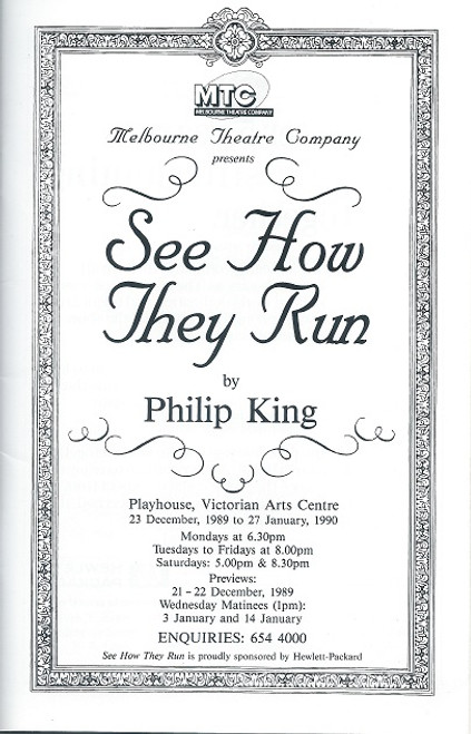 See How They Run by Philip King Art Centre Playhouse Melbourne 1990 Sally Cooper, Judith McGrath, Paul English, Nicki Wendi, Richard Piper, Dennis Coard, Noel Ferrier, Alan Andrews, Cliff Ellen