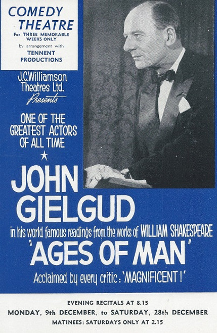 Shakespeare's Ages of Man (Play) John Gielgud Comedy Theatre 1963  Flyer (Rare)
