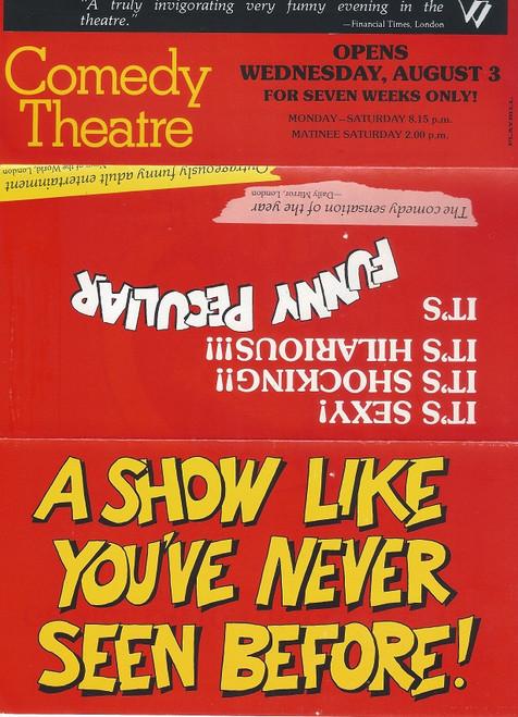 Funny Peculiar by Mike Stott Australian Tour Flyer 1977 Cast : Wendy Gilmore, Lynne Murphy, John Benton, Brian Harrison, Gordon Glenwright