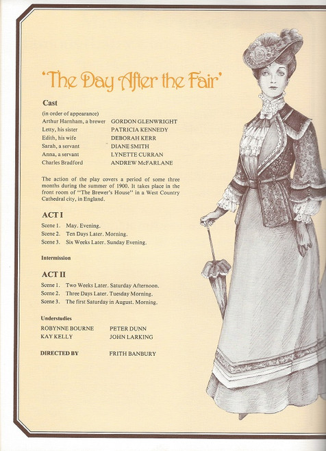 The Day After the Fair by Frank Harvey Comedy Theatre Melbourne 1979 Cast: Deborah Kerr, Andrew McFarlane, Patricia Kennedy, Gordon Glenwright, Diane Smith, Lynette Curran