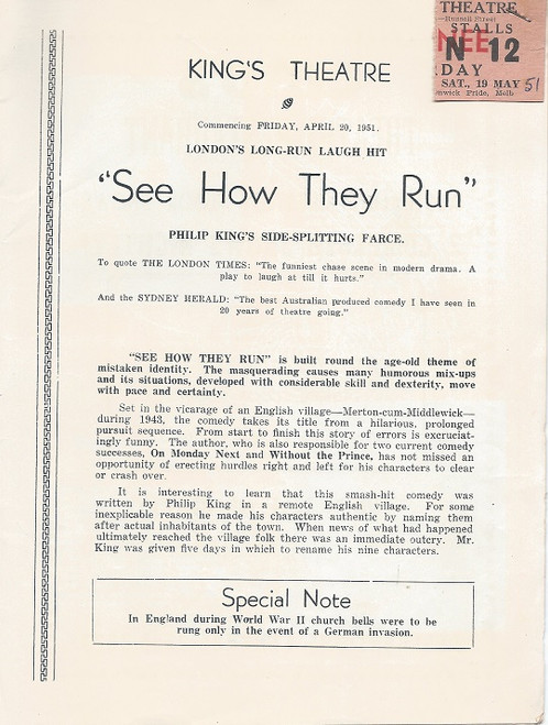 See How They Run! by Philip King King's Theatre Melbourne 1951 Cast: June Jago, Daphne Winslow, Malcolm Phillips, June Clyne, Anthony Ward, Eric Reiman, Frank Thring, Richard Webb, Gordon Glenwright