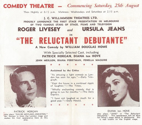 The Reluctant Debutante by William Douglas Home Comedy Theatre Melbourne 1956
