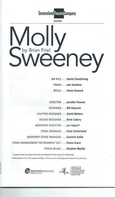 Molly Sweeney - Queensland Theatre Company by Brian Friel Molly Sweeney is a two-act play by Brian Friel. It tells the story of its title character, Molly, a woman blind since infancy, who undergoes an operation to try to restore her sight