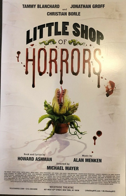 """Little Shop of Horrors is a horror comedy rock musical with music by Alan Menken and lyrics and a book by Howard Ashman. The story follows a hapless florist shop worker who raises a plant that feeds on human blood and flesh. The musical is based on the low-budget 1960 black comedy film The Little Shop of Horrors. The music, composed by Menken in the style of early 1960s rock and roll, doo-wop and early Motown, includes several well-known tunes, including the title song, """"Skid Row (Downtown)"""", """"Somewhere That's Green"""", and """"Suddenly, Seymour"""".  Cast - Tammy Blanchard, Jonathan Groff, Christian Borle, Tom Alan Robbins, Kingsley Leggs, Ari Groover, Salome Smith, Joy Woods, Stephen Berger, Chris Dwan, Kris Roberts, Chelsea Turbin, Eric Wright, Teddy Yudain"""