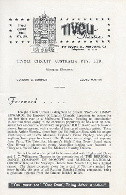 The Jimmy Edwards Show 1960's Australia Tivoli Theatre Melbourne