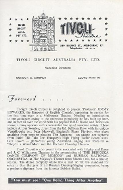 The Jimmy Edwards Show 1960's Australia Tivoli Theatre Melbourne