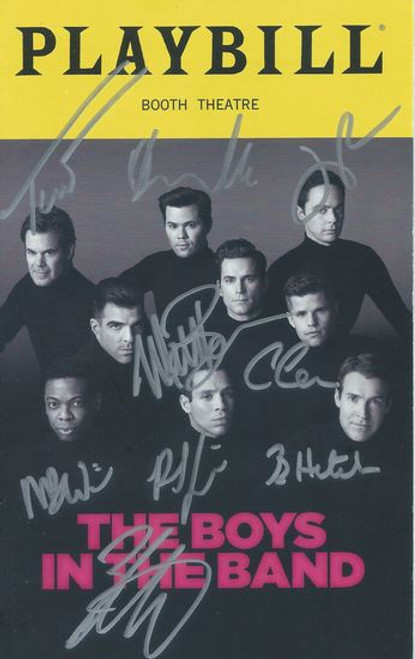The Boys in the Band (July 2018) 50th Anniversary Production Boys in the Band (Play) Booth Theatre Playbill Signed by all Cast Members Signed by Zachary Quinto, Matt Bomer, Charlie Carver, Robin De Jesus, Brian Hutchison, Michael Benjamin Washington, Tuc Watkins