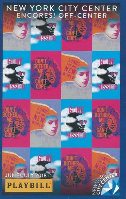Songs For a New World - New York City Center Playbill / Program Jun 2018 Cast: Shoshana Bean, Colin Donnell, Mykal Kilgore, Solea Pfeiffer, Phil S Cuttino Jr, Virgil Gadson, Mai Le Ho, Samantha Shepherd, Danzel Thompason-Stout