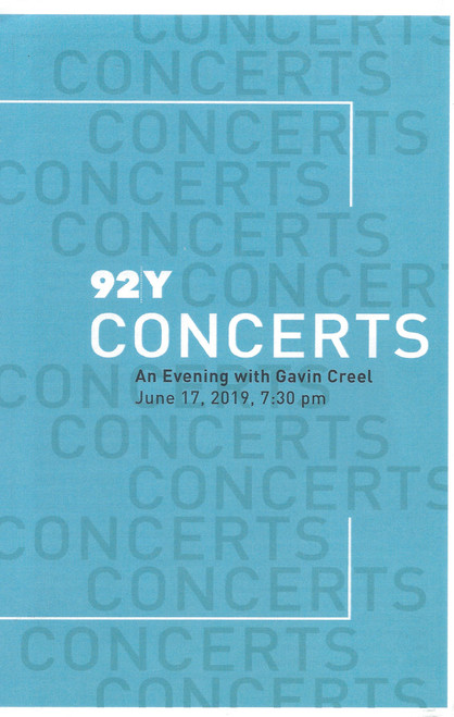Gavin Creel 92y Concerts  Program / Folder Jun 2019