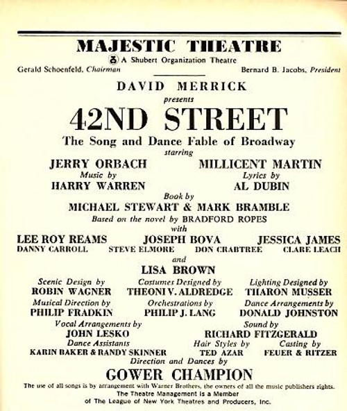 42nd Street is a musical with a book by Michael Stewart and Mark Bramble, lyrics by Al Dubin, and music by Harry Warren.