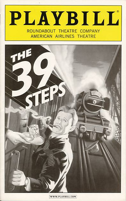 The 39 Steps is a farce adapted from the 1915 novel by John Buchan and the 1935 film by Alfred Hitchcock. Patrick Barlow wrote the adaptation, based on the original concept by Simon Corble and Nobby Dimon of a two-actor version of the play.