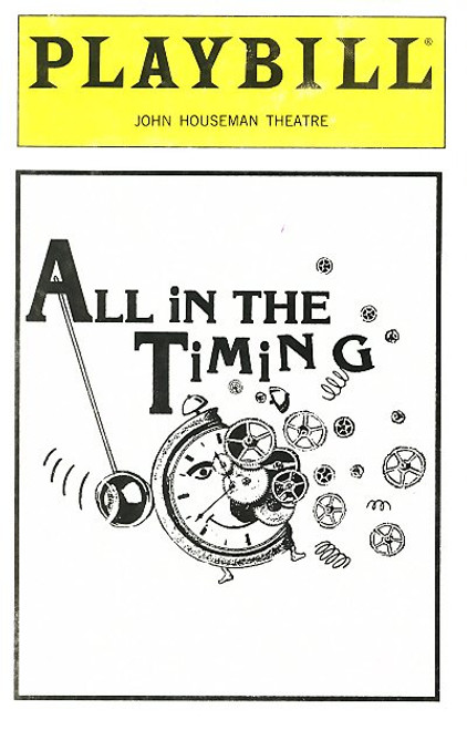 All in the Timing is a collection of one-act plays by the American playwright David Ives written between 1987 and 1993. It was first published by Dramatists Play Service in 1994
