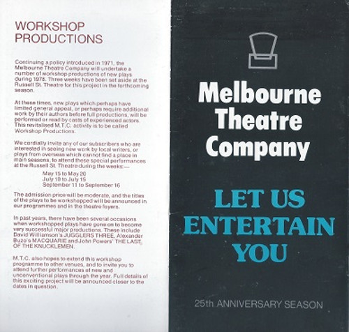 MTC 1978 Shows Include - Richard lll, Makassar Reef, The Beaux Stratagem, Departmental, Electra, Just Between Ourselves, Playboy of the Western World