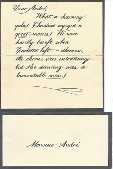 Phantom of the Opera - Broadway Props Prop letter to Monsieur Andre - What a charming gala !
