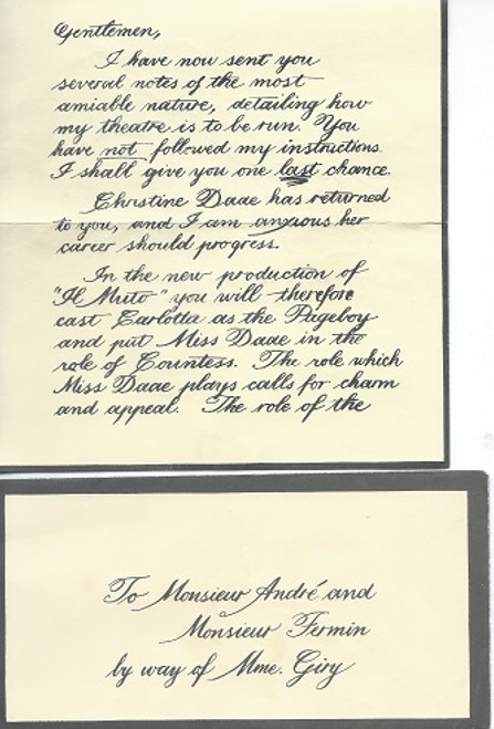 Phantom of the Opera - Broadway Props Prop letter to Monsieur Andre and Monsieur Fermin - I have sent Several Notes