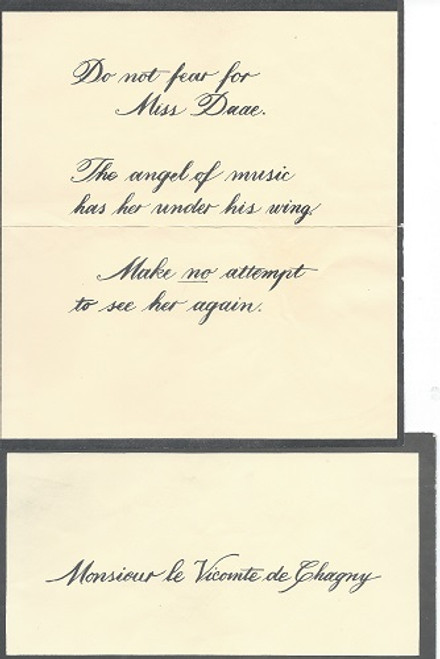 Phantom of the Opera - Broadway Props  Prop letter to Monsieur Raoul Vicomte de Chagny Do not Fear for Miss Daae