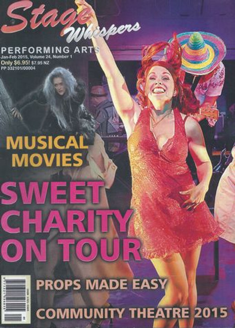 Stage Whispers Magazine Australia Jan - Feb 2015    Stage Whispers is Australia's only national theatre magazine. News, Reviews, Features, What's On, Auditions and Stagecraft. Covers everything from big professional musicals and drama to community theatre and schools on stage.Covers everything from big professional musicals and drama to community theatre and schools on stage.  Each issue has hundreds of theatre listings and up to 100 reviews from across the country.  This edition features Sweet Chariry, Into the Woods Movie, Phantom, Dirty Dancing - London Calling, Broadway Buzz  Please Note You are Buying a Souvenir Magazine