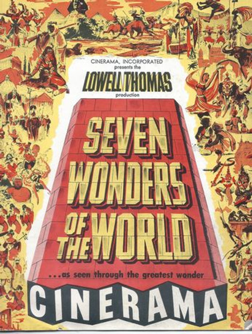 Seven Wonders of the World -  Including hanging gardens of Babylon, Colossus of Rhodes, Statue of Olympian Zeus, Pharos of Alexandra and the Pymamid of Cheops and the great Sphinx. Program Date  1956