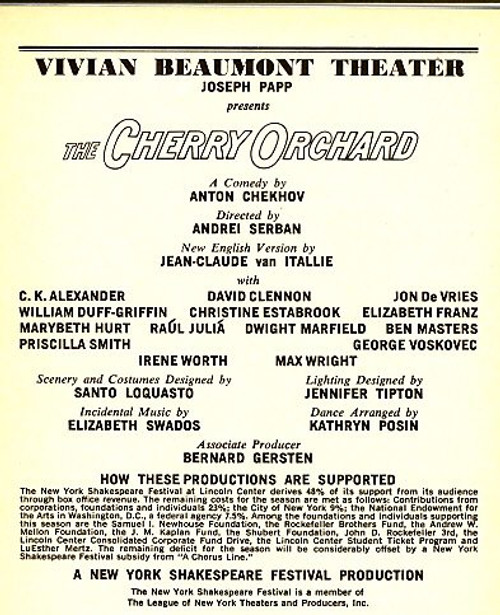 The Cherry Orchard (Вишнëвый сад or Vishnyovy sad in Russian) is Russian playwright Anton Chekhov's last play. It premiered at the Moscow Art Theatre 17 January 1904 in a production directed by Constantin Stanislavski.