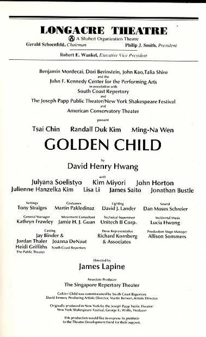 Golden Child is an Obie Award-winning play by American playwright David Henry Hwang. Hwang's second Broadway play, it depicts a nineteenth century Chinese family being faced with Westernization.