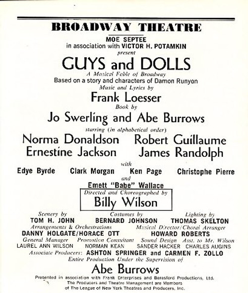 """Guys and Dolls is a musical with music and lyrics by Frank Loesser and book by Jo Swerling and Abe Burrows. It is based on """"The Idyll of Miss Sarah Brown"""" and """"Blood Pressure"""""""