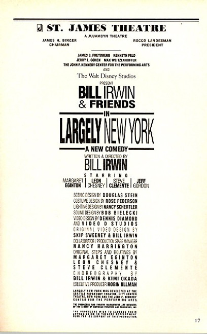 Largely New York by Bill Irwin (Jul 1989) Margaret Eginton, Leon Chesney - St James Theatre