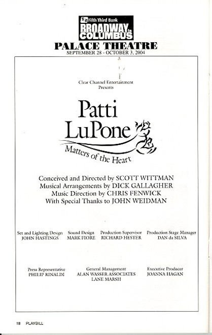 Patti LuPone Matters of the Heart (Oct 2004) Directed by Scott Wittman Palace Theatre Columbus, Ohio