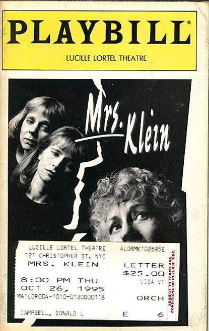 Mrs Klein by NIcholas Wright (Oct 1995) Uta Hagen, Amy Wright, Laila Robins - Lucille Lortel Theatre