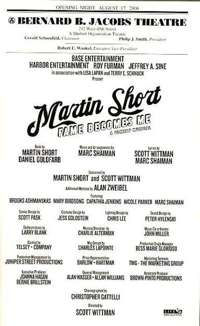 Martin Short Fame Becomes Me (17 Aug 2006) Martin Short  - Bernard B Jacobs Theatre