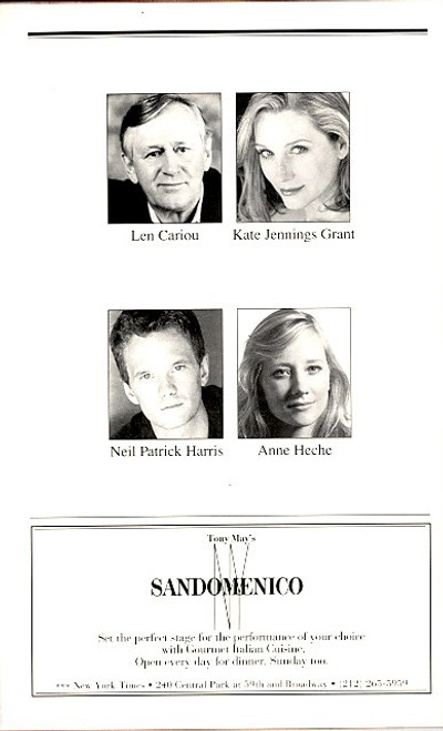 Proof (Jul 2002) Len Cariou, Neil Patrick Harris Walter Kerr Theatre