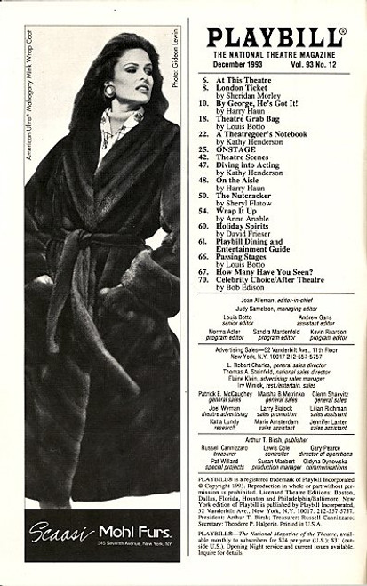 She Loves Me (Dec 1993) Boyd Gaines, Diane Fratantoni, Sally Mayes Brooks Atkinson Theatre