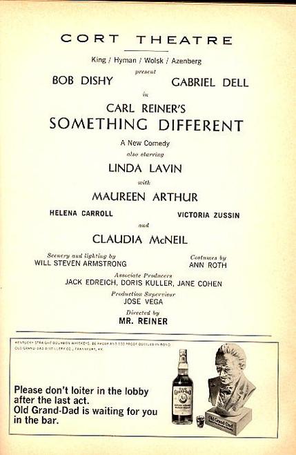 Something Different (Dec 1967) Bob Dishy, Linda Lavin, Maureen Arthur Cort Theatre