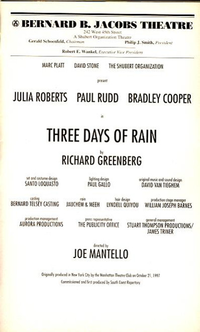 Three Days of Rain (Play) Julia Roberts, Paul Rudd, Bradley Cooper,Michael Dempsey - Bernard B Jacobs Theatre (Jun 2006)