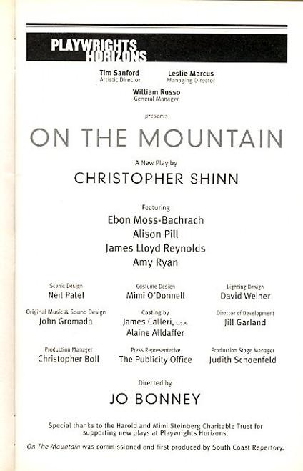 On The Mountain (Play) Ebon Moss-Bachrach, Alison Pill Playwrights Horizons