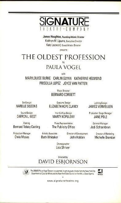 The Oldest Profession (Play) Marylouise Burke, Joyce Van Patten, Carlin Glynn Peter Norton Space