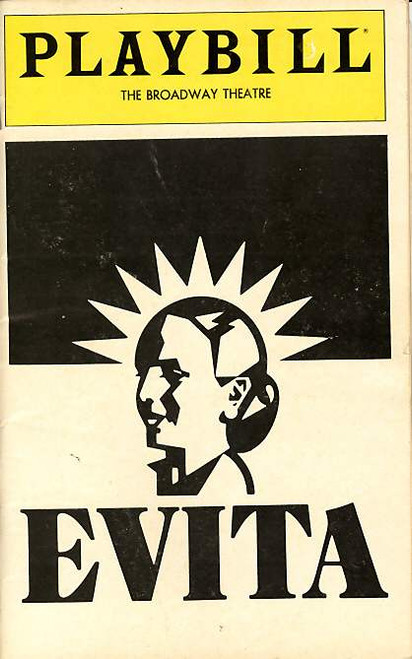 Evita (July 1980) Patti LuPone, Mandy Patinkin - Broadway Theatre Evita is a musical production, with music by Andrew Lloyd Webber and lyrics by Tim Rice