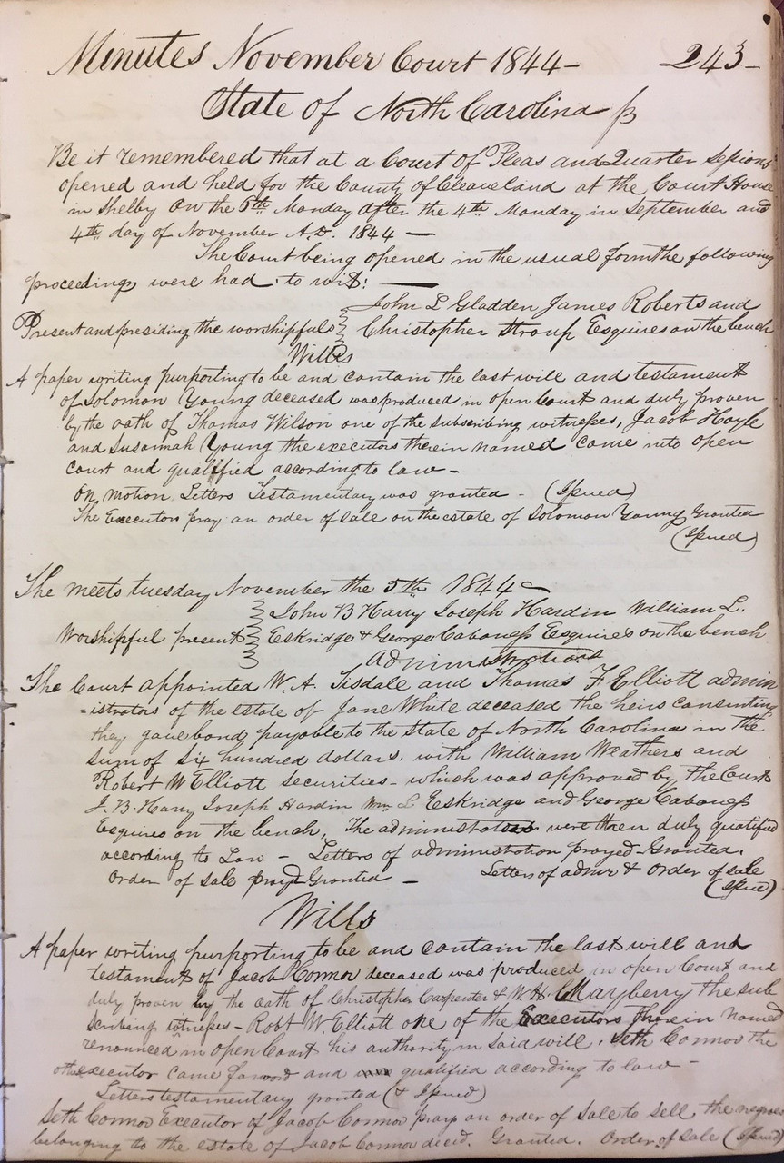 Minutes Of The Courts Of Pleas And Quarter Sessions 1738 1868 State Archives Of North Carolina Store