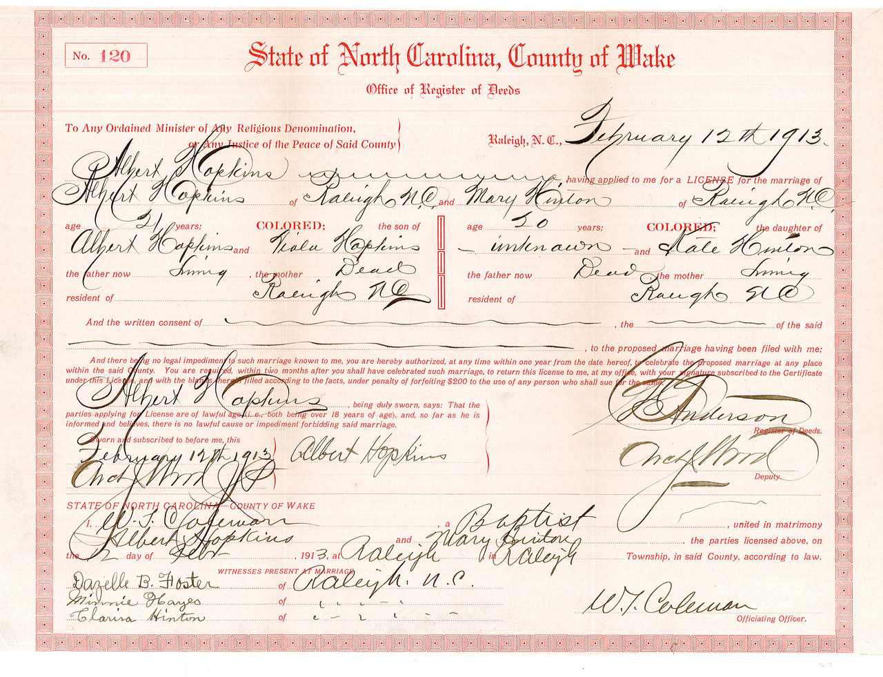 Marriage Records, 1851-1966 - State Archives of North